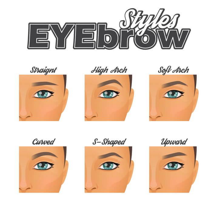 צורות שונות של עיניים וגבות